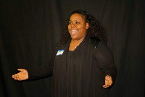 Erika speaking at a Storytellers meeting